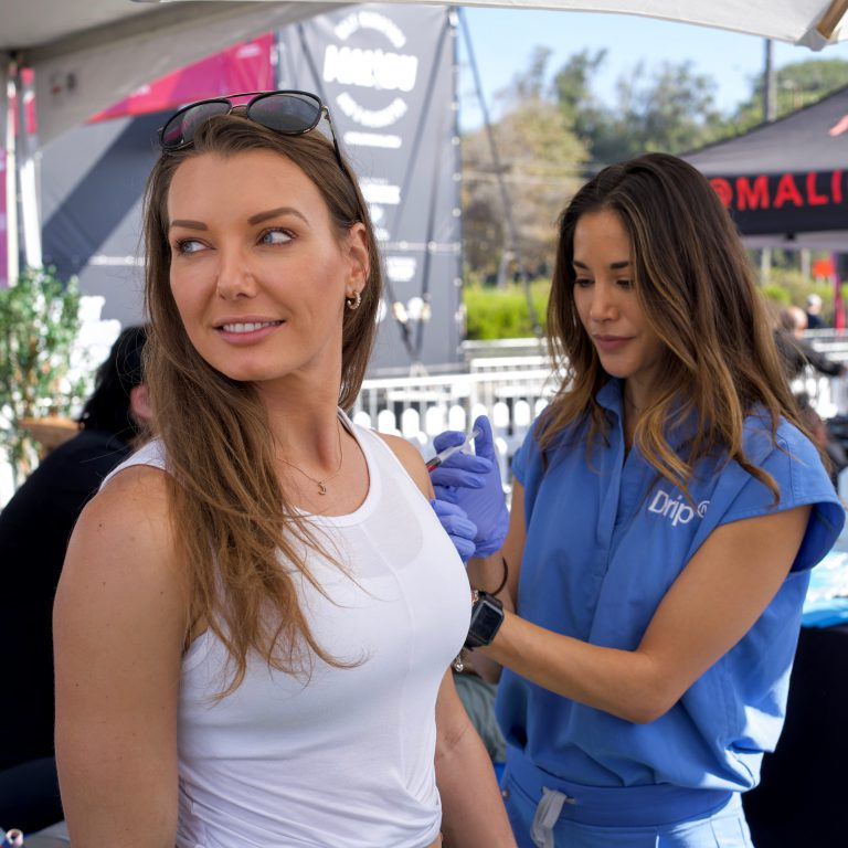 IV Therapy Nurse Giving B12 Shot to Client in Malibu
